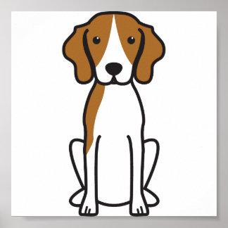 Dibujo animado del perro del Coonhound del caminan Poster