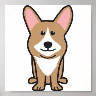 Dibujo animado del perro del Corgi Galés de la reb Póster