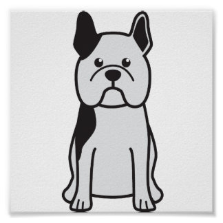 Dibujo animado del perro del dogo francés póster