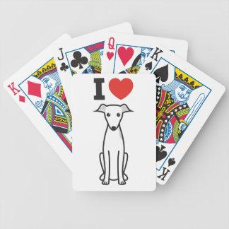 Dibujo animado del perro del galgo italiano baraja cartas de poker