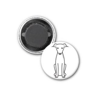 Dibujo animado del perro del galgo italiano imán redondo 3 cm