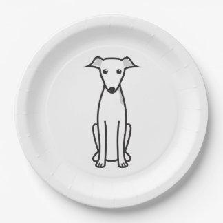 Dibujo animado del perro del galgo italiano platos de papel