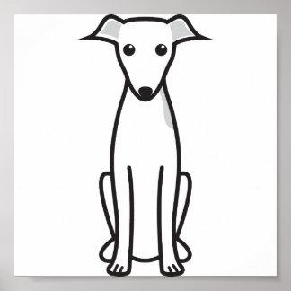 Dibujo animado del perro del galgo italiano póster