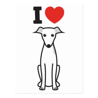 Dibujo animado del perro del galgo italiano tarjetas postales