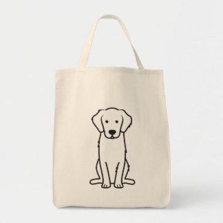 Dibujo animado del perro del golden retriever bolsas lienzo