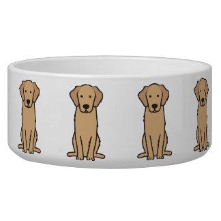 Dibujo animado del perro del golden retriever comedero para mascota