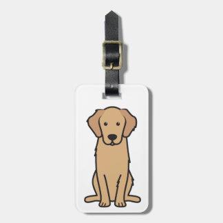 Dibujo animado del perro del golden retriever etiqueta de equipaje