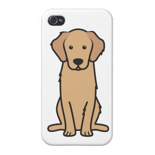 Dibujo animado del perro del golden retriever iPhone 4/4S fundas