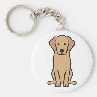 Dibujo animado del perro del golden retriever llavero redondo tipo pin