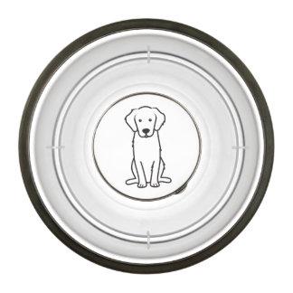 Dibujo animado del perro del golden retriever cuenco para mascotas
