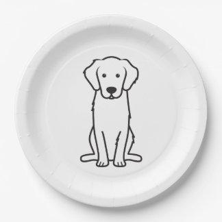 Dibujo animado del perro del golden retriever plato de papel de 9 pulgadas