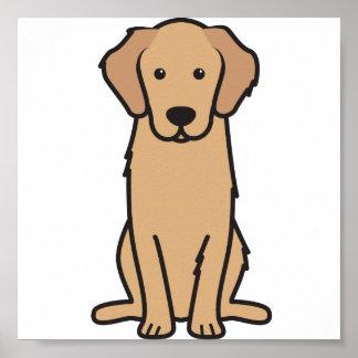 Dibujo animado del perro del golden retriever póster