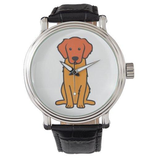 Dibujo animado del perro del golden retriever relojes