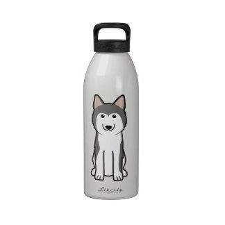 Dibujo animado del perro del husky siberiano botellas de agua reutilizables