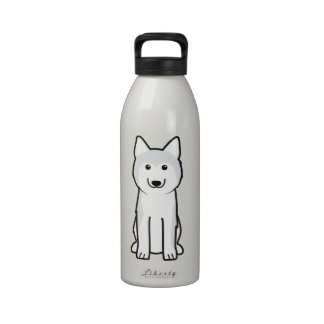 Dibujo animado del perro del husky siberiano botella de beber