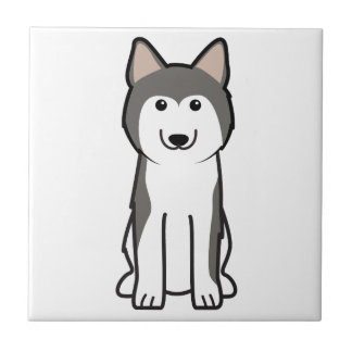Dibujo animado del perro del husky siberiano azulejo cuadrado pequeño