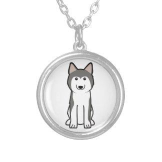 Dibujo animado del perro del husky siberiano colgante redondo