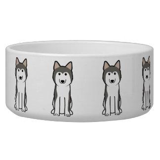 Dibujo animado del perro del husky siberiano comedero para mascota