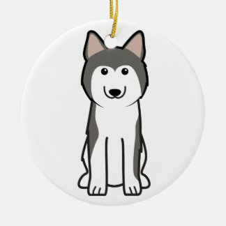 Dibujo animado del perro del husky siberiano adorno redondo de cerámica
