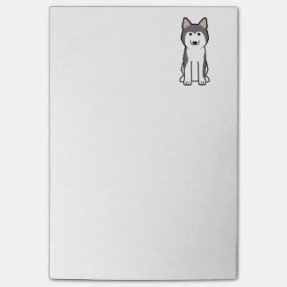 Dibujo animado del perro del husky siberiano notas post-it®