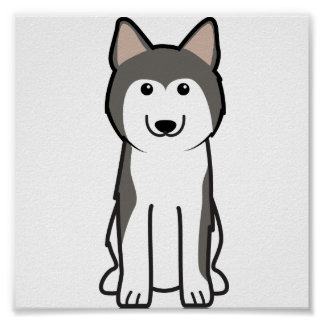 Dibujo animado del perro del husky siberiano póster