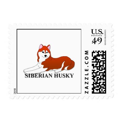Dibujo animado del perro del husky siberiano sello