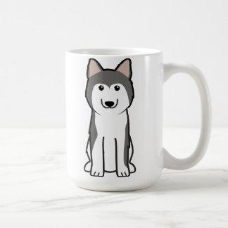 Dibujo animado del perro del husky siberiano taza de café