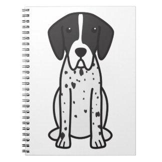 Dibujo animado del perro del indicador libro de apuntes con espiral
