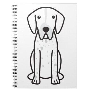 Dibujo animado del perro del indicador libro de apuntes