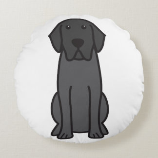 Dibujo animado del perro del labrador retriever cojín redondo