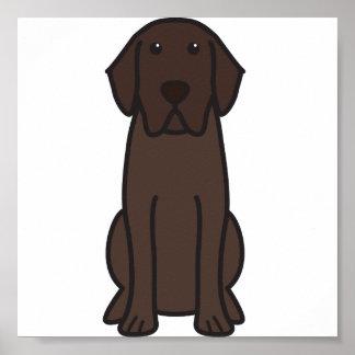 Dibujo animado del perro del labrador retriever póster