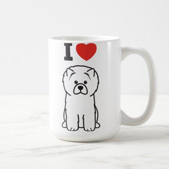 Dibujo animado del perro del perro chino de perro taza de café