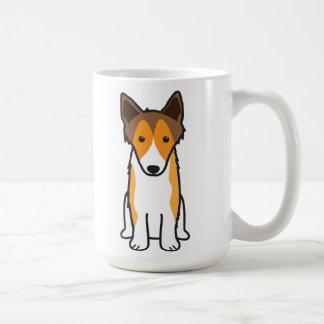 Dibujo animado del perro del perro pastor de taza básica blanca