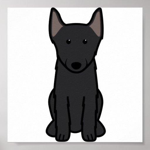 Dibujo animado del perro del Schipperke Posters