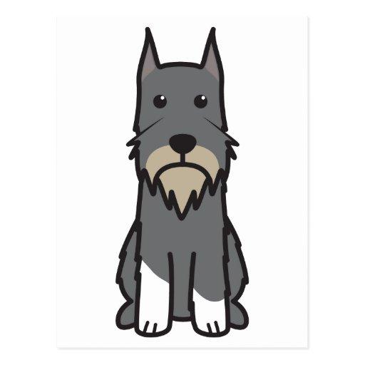 Dibujo animado del perro del Schnauzer estándar Tarjetas Postales