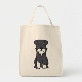 Dibujo animado del perro del Schnauzer miniatura Bolsa Tela Para La Compra