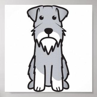 Dibujo animado del perro del Schnauzer miniatura Poster