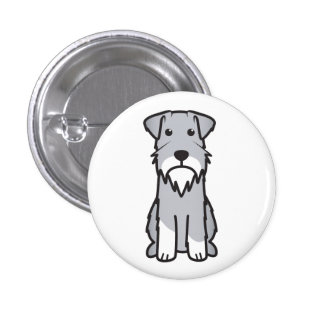 Dibujo animado del perro del Schnauzer miniatura Pin Redondo De 1 Pulgada
