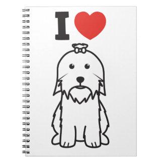 Dibujo animado del perro maltés cuaderno