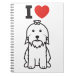 Dibujo animado del perro maltés libros de apuntes
