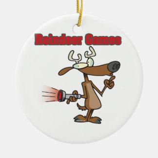 dibujo animado del phony de los juegos del reno adorno redondo de cerámica