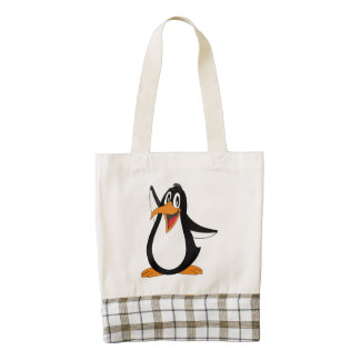 Dibujo animado del pingüino bolsa tote zazzle HEART