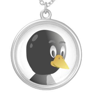 Dibujo animado del pingüino collar plateado