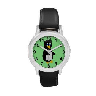 Dibujo animado del pingüino del bebé reloj de mano