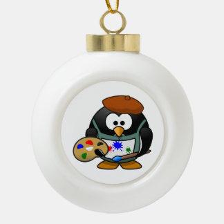Dibujo animado del pingüino del pintor adorno de cerámica en forma de bola