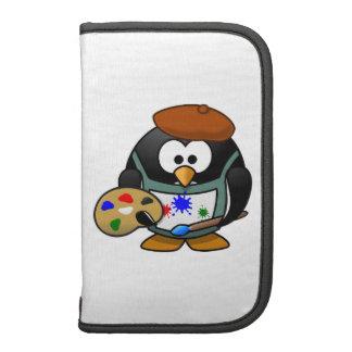 Dibujo animado del pingüino del pintor planificador