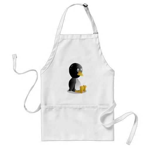 Dibujo animado del pingüino delantal