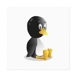 Dibujo animado del pingüino lona envuelta para galerias