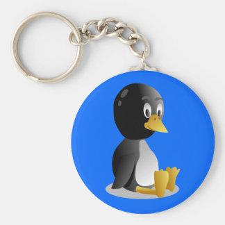 Dibujo animado del pingüino llavero redondo tipo pin