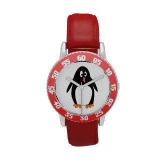 Dibujo animado del pingüino reloj